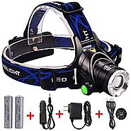 Zoomable 1800 Lumens Led Flashlight Headlamp Headlight, Hands-free Flood Light Spot Light for Camping Running Reading...