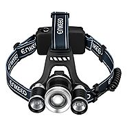 Enkeeo Multi-Beam LED Headlamp 2200 Lux Brightness, Middle T6 Bulb, 2-Side XPE Bulbs, 4 Light Modes, USB Charging Cab...