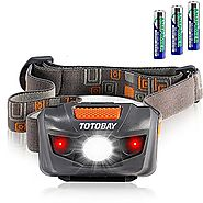 Waterproof LED Headlamp Flashlight- 4 Modes(White lights/ Red Lights and SOS)- Great for Reading Running, Hiking, Cam...