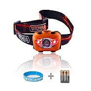 Vitchelo V800 Headlamp Flashlight with Red LED, Orange