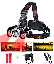 MakeTheOne Red Lighting Headlamp (1 x T6 White + 2 x R5 Red Light) 4 Mode LED Headlight Head Lamp for Hunting Camping...