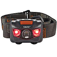 Headlamp LED Headlight 4 Mode Outdoor Flashlight Torch with Dimmable White Light Steady Red Light Adjustable and Wate...