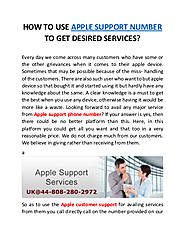 How to use apple support number to get desired services | edocr