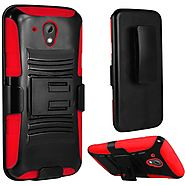 HTC Desire 520 Hybrid Heavy Duty Armor Holster Case Cover - Red :: CellPhoneCases.com