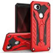 Google Pixel 2 - Static Dual Layer Hybrid Case Cover Kickstand - Red/Black