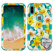 Apple iPhone X - Spring Daffodils/Tropical Teal TUFF Hybrid Phone Case Cover :: CellPhoneCases.com