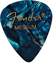 Fender 351 Shape Classic Medium Celluloid Picks, 12 Pack, Ocean Turquoise for electric guitar, acoustic guitar, mando...