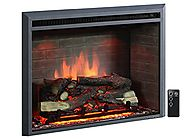 "PuraFlame 33"" Western Electric Fireplace Insert with Remote Control, 750/1500W, Black"