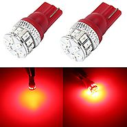 Alla Lighting 500 Lumens Super Bright Pure Red 194 168 2825 175 W5W 158 161 192 LED Bulb T10 Wedge High Power 3014 18...