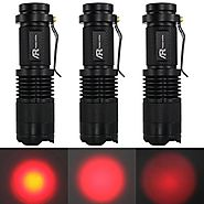 AR happy online 3 Pack AR-200 Zoomable 3 Mode Red Light Mini LED Flashlight Tactical Torch with Clip 300lm Adjustable...