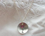 Initial Charm Necklace in Aluminum | Suzanna McMahan | Upcycled Vintage Jewelry