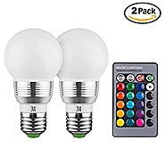 KOBRA LED Bulb Color Changing Light Bulb with Remote Control (2 Pack)16 Different Color Choices Smooth, Flash or Stro...