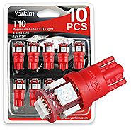 194 LED Light bulb, Yorkim 6th Generation, Non-Polarity,12V Lights for 168, 2825,T10 5-SMD LED Bulb (Pack of 10)- Red