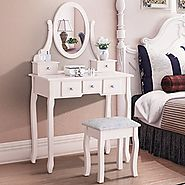 New Vanity Dressing Table Set Makeup Desk Stool and Mirror Ivory 5 Drawes
