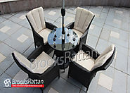Brown Atlanta 4 Seater 70cm Mini Round Dining Set