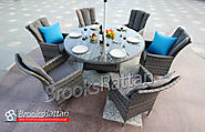 Serena Atlanta 6 Seat 150cm Round Dining Set in Grey Rattan