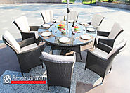 Brown Atlanta 8 Seater 180cm Round Dining Set