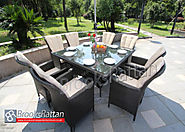 Brown Atlanta 8 Seat Square Dining Set