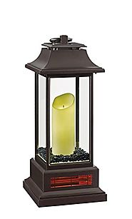 "Duraflame 10ILH100-01 27"" Portable LED Electric Flameless Candle Lantern with Quartz Infrared Heater, Bronze"