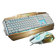 LED Gaming Keyboards and Mouse Combo, BlueFinger 3 Color Adjustable USB Wired Metal Surface Backlight Lighted Keyboar...