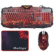 Gaming Keyboards with Mouse, BlueFinger LED Backlit 3 Color Adjustable USB Wired Keyboard Mouse Set with Cool Crack P...
