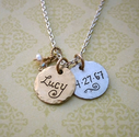 Gold & Silver Vintage Style Charm Necklace with Baby's Name and Birthdate
