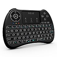 (2017 Backlit Version)REIIE H9+ Backlit Wireless Mini Handheld Remote Keyboard with Touchpad Work for PC,Raspberry Pi...