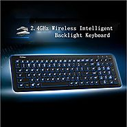 Pesp Ultra-thin Intelligent Smart Adjustable Blue LED Backlight Multimedia Wireless Gaming Keyboard with USB Receiver...