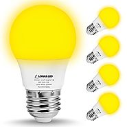LOHAS Yellow LED Bug Light Bulbs, A15 LED Bulb, 40W Equivalent E26 Edison Bulb(5W), 450 Lumens Porch Lights Non-Dimma...
