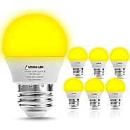 LOHAS LED Yellow Bug Light Bulbs, 25W Equivalent(3W), LED Bulbs G14, Mini LED E26 Medium Base Bulb, Non-Dimmable Nigh...