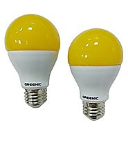 Greenic 60Watt Amber Yellow LED Bug Light Bulb 2-Pack No Blue Light Outdoor 800Lm 120V E26 Medium Base