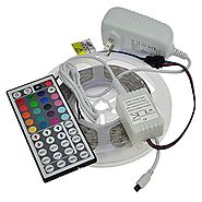 LEDwholesalers 12-Volt 16.4-ft RGB Color-Changing Kit with Controller and IR Remote, Power Supply, and LED Strip in W...