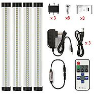 LXG 12in Dimmable LED Under Cabinet Lighting, 12W 2700K Warm White 1000LM, Clear Cover Led Strips,11key IR Remote Con...