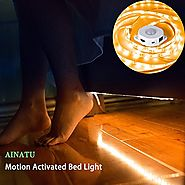 Motion Activated Bed Light, AINATU Under Cabinet Lighting, Bed Light with Automatic Shut Off Timer for Under Cabinet,...