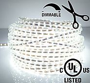 LEDJump Bright Pure White Dimmable Linkable 300SMD LED Tape Ribbon Flexible Strip Lights 16.4 Ft 12v,3M Adhesive, For...