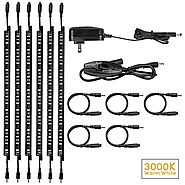 LED Safe Lighting Kit, (6) 12'' Linkable light bars + Rocker Switch + Power adapter, Under Cabinet Lighting, Gun Safe...