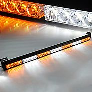 "Xprite 31.5"" 7 Modes Traffic Advisor Emergency Warning Vehicle Strobe Light Bar Kit (White/Yellow)"
