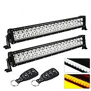 YITAMOTOR 2-Pack 22Inch LED Light Bar,Amber White Light Bar Combo Strobe Light LED Work Light for Jeep,Truck, UTV, 4X...
