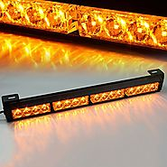 "Xprite 18"" 16 LED Emergency Warning Traffic Advisor Vehicle LED Strobe Light Bar - Amber Yellow"