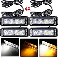Astra Depot 4-LED White & Amber Waterproof Emergency Beacon Flash Caution Strobe Light Bar 16 different flashing Car ...