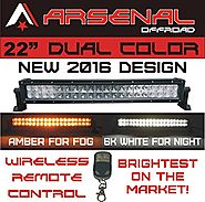 "#1 22"" Dual Color Amber/White Wireless Remote Control LED light bar by Arsenal Offroad Dual Color LED's 120w Off Road..."