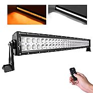 "MICTUNING 31.5"" 180W Amber White LED Work Fog Light Bar Spot Flood Combo Strobe Lights with Remote Controller"