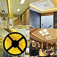 Yellow Lighting Led Strip, MIHAZ Light Outdoor Strips 16.4ft 5M 300 Leds 5050 Waterproof White PCB Power Supply For H...