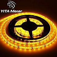 YITAMOTOR Yellow Amber 12V DC Flexible LED Strip Lights, 16.4ft/5m LED Light Strips, 300 Units 3528 LEDs, waterproof ...