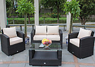 Madrid 4 Seat 4 Piece Sofa Set in Brown Rattan