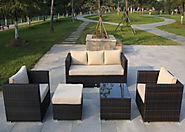 5 Seat 5 Piece Sofa Set in Brown Rattan