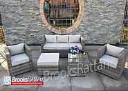Champagne 5 Seat 5 Piece Sofa Set in Mixed Grey Rattan
