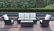 Brown 5 Seat 4 Piece High Back Sofa Set