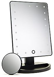 Natural Daylight Lighted Makeup Mirror / Vanity Mirror with Touch Screen Dimming, Detachable 10X Magnification Spot M...