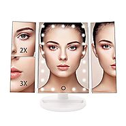 Bestope Vanity Makeup Mirror Trifold 21 Led Lighted with Touch Screen, 1x/2x/3x Magnification and Usb Charging, 180° ...